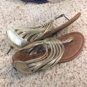 Gold sandal shoes